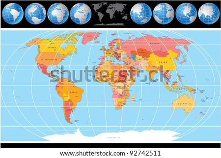 Vector World Map with Globes - stock vector