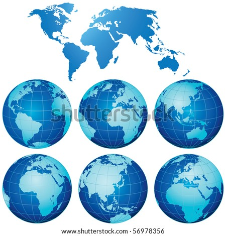 Vector World Map with Globes Set - stock vector