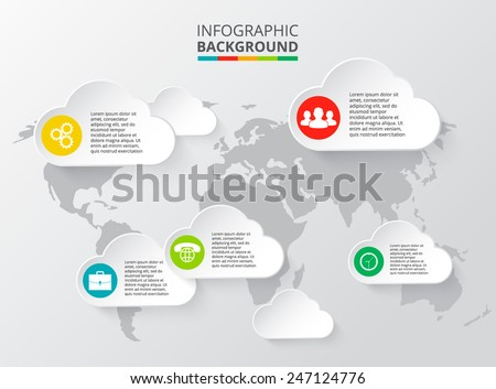 Vector world map with infographic elements. - stock vector