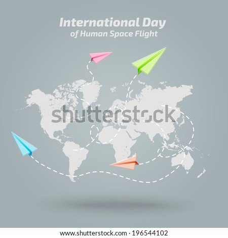 Vector world map with paper planes - background  - stock vector