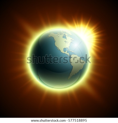 Vector world map rising sun globe vectores en stock 577518895 vector world map with the rising sun globe icon in the space sunlight planet gumiabroncs Images