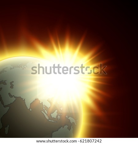 Vector world map rising sun globe vectores en stock 607516505 vector world map with the rising sun globe icon in the space sunlight planet gumiabroncs Gallery