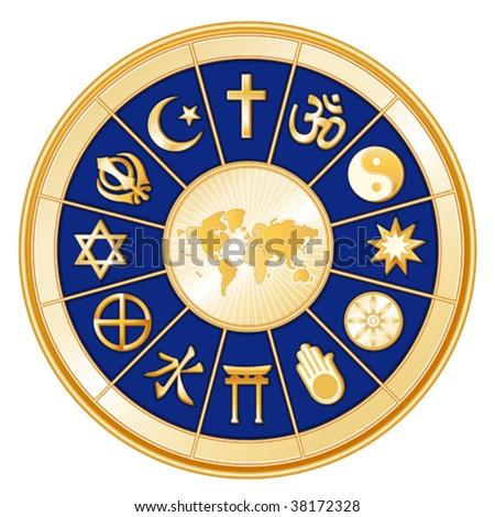 vector - World of Faith. 12 religions: Judaism, Sikh, Islam, Christianity, Hindu, Taoism, Baha'i, Buddhism, Jain, Shinto, Confucianism & Native Spirituality. EPS8 organized in groups for easy editing. - stock vector