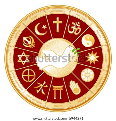 vector, WORLD RELIGIONS, DOVE OF PEACE: Buddhist, Islam, Hindu, Taoism, Christianity, Sikh, Native Spirituality,  Confucianism, Shinto, Baha'i, Jain, Judaism. EPS8 compatible. - stock vector