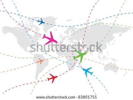 vector world travel map - stock vector