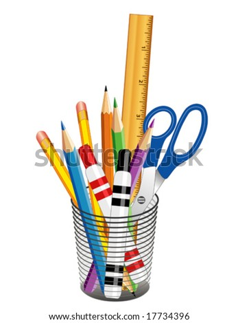 vector - Writing & Drawing Tools in a desk organizer for office, home & school projects: pencils, pens, ruler, scissors, felt tip markers, colored pencils. EPS8 organized in groups for easy editing. - stock vector