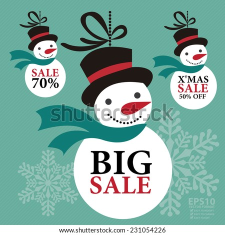 Vector : X'Mas Seasonal Sale Campaign on Snowman Hanging Tag or Icon Isolated on White Background  - stock vector