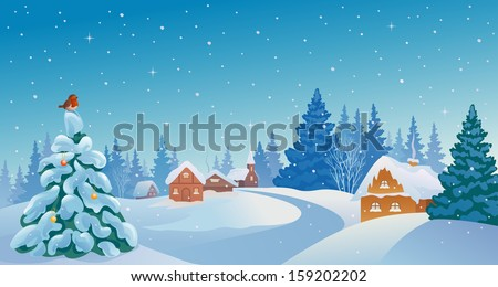Vector xmas card with a beautiful snowy village - stock vector