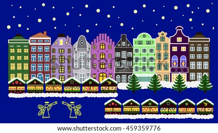 Vector xmas card with a decorated snowy old town at Christmas eve.background 16:9.