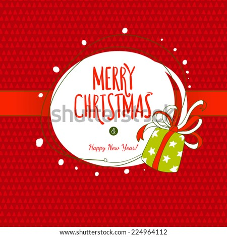 Vector Xmas hand drawing label. Merry Christmas fun elements. Gift box illustration. - stock vector