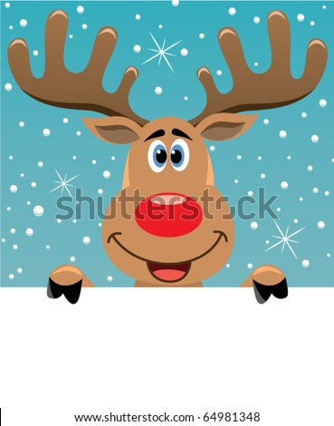 vector xmas illustration of happy Reindeer deer holding blank paper for your text - stock vector