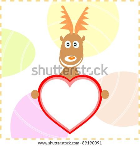 vector xmas reindeer holding love heart card for text - stock vector
