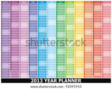 VECTOR -  2013 Year Planner - stock vector