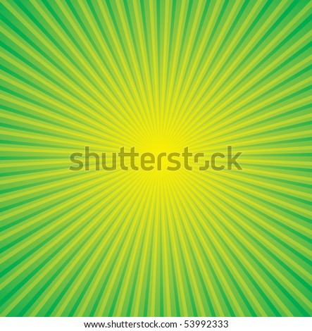 vector yellow background and green ray - stock vector