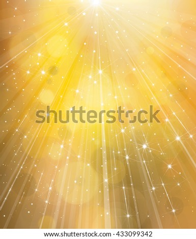 Vector  yellow  background with rays and stars. - stock vector
