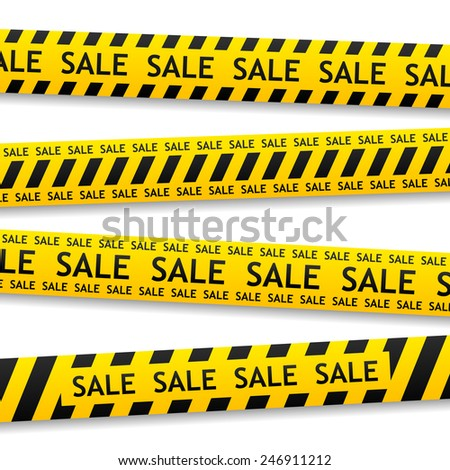 vector yellow bent sticker with white sale sign