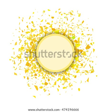 Vector Yellow Confetti Round Banner Isolated on White Background. Set of Particles.