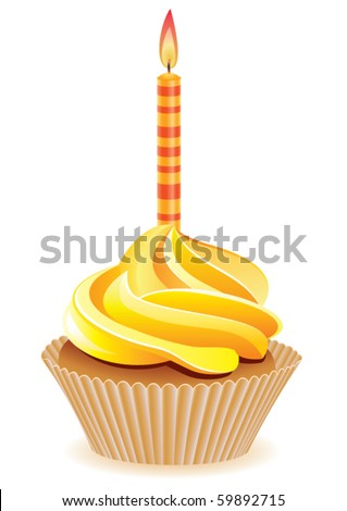 vector yellow cupcake with burning candle - stock vector