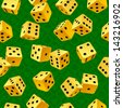 Vector yellow dice seamless background - stock photo