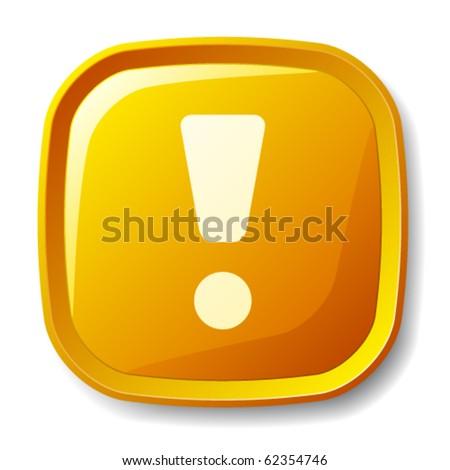 vector yellow exclamation mark button - stock vector