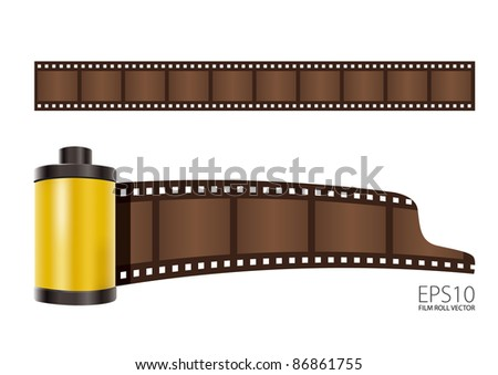 Vector yellow Film roll - stock vector