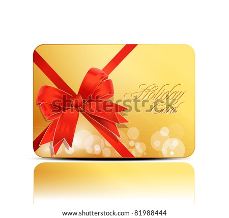vector yellow, greeting, business card with a big red bow