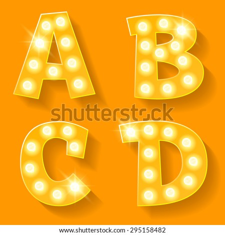 Vector yellow lamp alphabet for theatre, cinema and other entertainment. Letters A B C D - stock vector