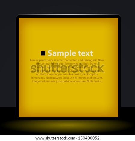 Vector yellow light box  illustration - stock vector