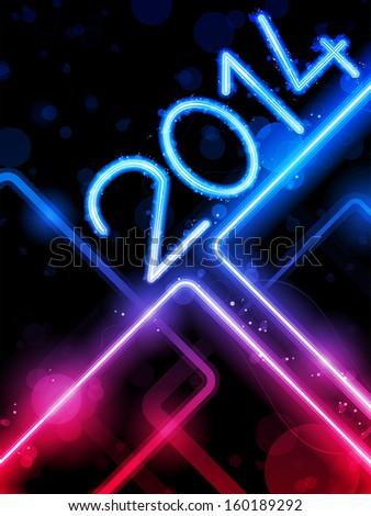 Vector - 2014 Yellow  Lines Background Neon Laser - stock vector