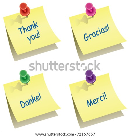 vector yellow paper notes with push pin and thank you words in english, spanish, german and french - stock vector