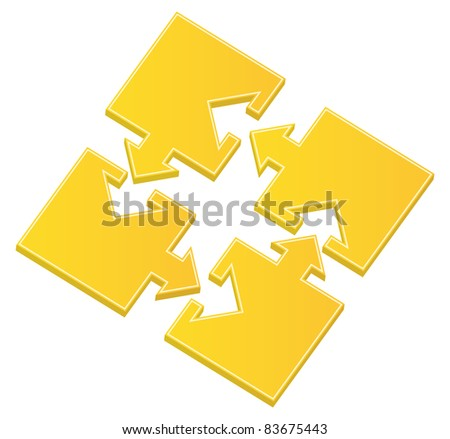 Vector yellow puzzle pieces with arrows - stock vector