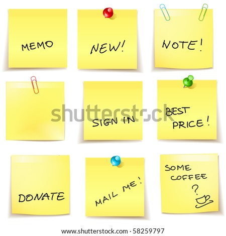 vector yellow sticky papers set 2 - stock vector