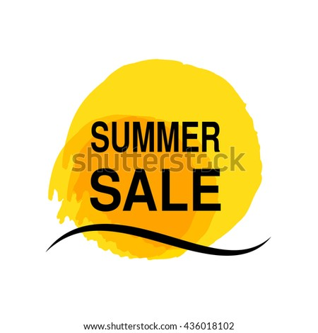 Vector yellow sun with sea wave. Watercolor grunge sun symbol. Summer offer Label. Sale symbol. Dirty spot.