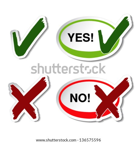 Vector yes no button - check mark symbol - stock vector