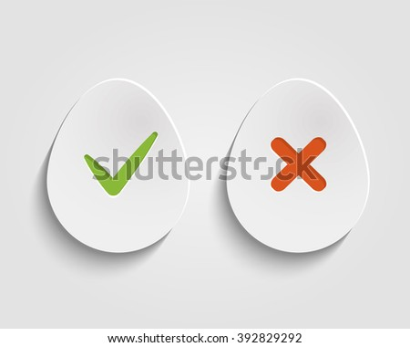 Vector Yes, No chec kmark on egg buttons or circles - stock vector
