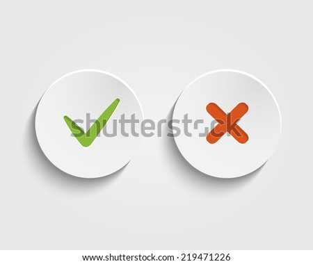 Vector Yes, No checkmark on buttons or circles - stock vector
