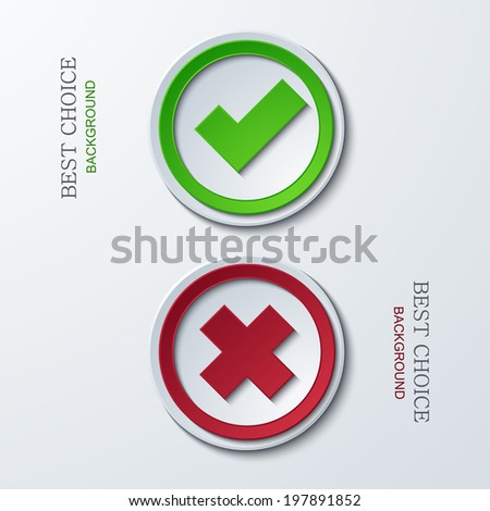 vector yes or no circle icons. Eps 10 - stock vector