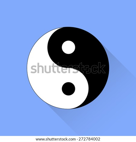 Vector Yin Yang Symbol of  of Harmony and Balance Isolated on Blue Background.