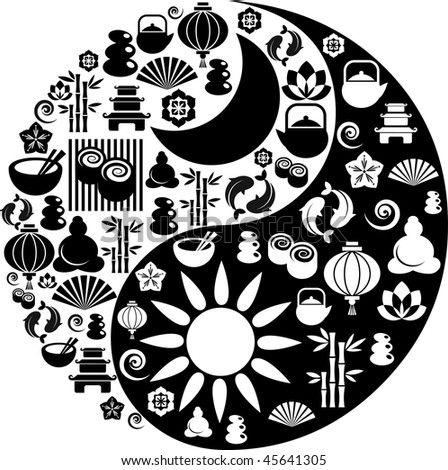 Vector Yin-Yang with collection of Zen and oriental icons - stock vector