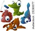 vector yoga animals set 180: crocodile, hedgehog, seal, bear - stock vector