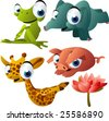 vector yoga animals set 189: frog, elephant, giraffe, pig - stock vector