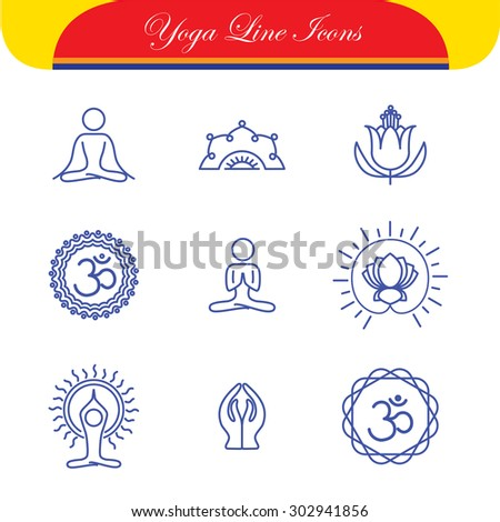 vector yoga icons & round line badges - graphic design elements in outline style. these monograms or emblems also represent spa center, yoga studio, beauty & wellness business, meditation retreats - stock vector