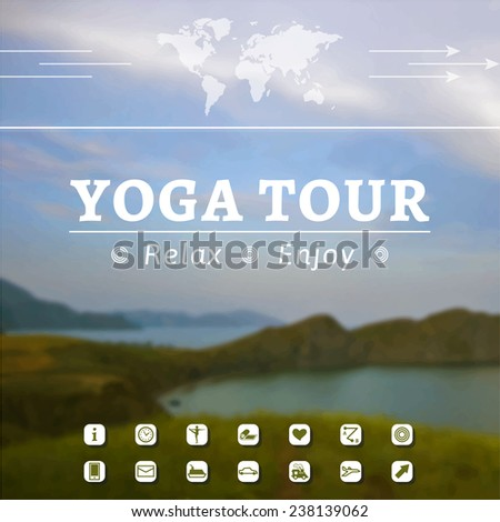 Vector yoga illustration. Poster for yoga tour, journey, travel, vacation on a nature background. Advertisement of yoga tour, healthy lifestyle. Poster for yoga tour with sea landscape. Infographics. - stock vector