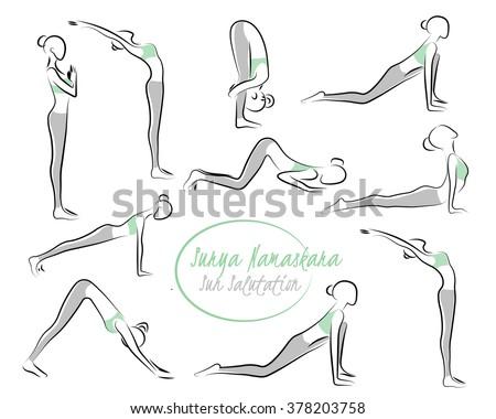 vector yoga illustration yoga set women stock vector