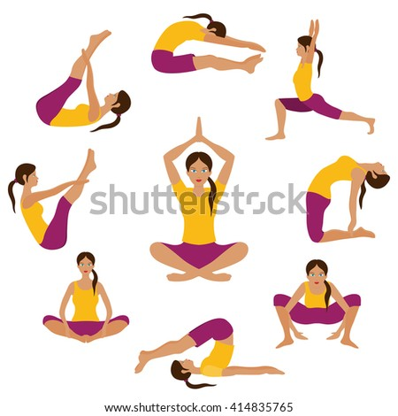 vector yoga illustration yoga set yoga stock vector
