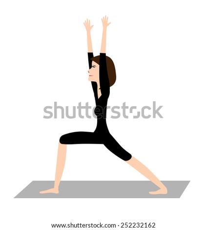 Vector yoga teacher showing a position  - stock vector