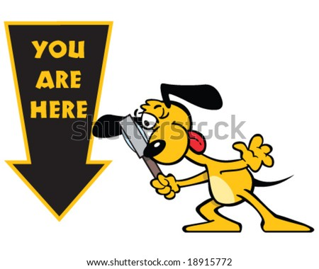 vector you are here sign with yellow dog and magnifying glass - stock vector