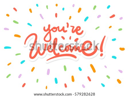 vector youre welcome lettering postcard stock vector 579282628 rh shutterstock com you are welcome clip art images you're welcome clipart