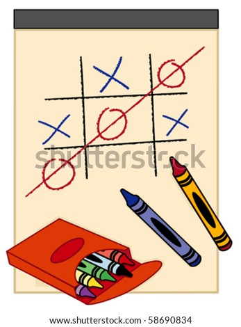 vector - You Win, Tick Tack Toe Game. Drawing paper box of crayons. Customize your own game. EPS8 organized in groups for easy editing. - stock vector