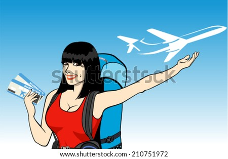 vector young girl traveler with tickets and backpack and airplane - stock vector